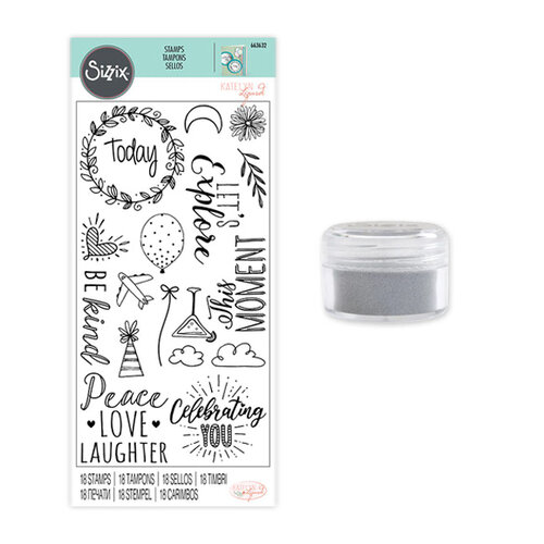 Sizzix - Making Essentials Collection - Silver Opaque Embossing Powder and Clear Acrylic Stamps - Everyday Sentiments Bundle