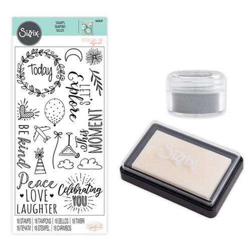 Sizzix - Making Essentials Collection - Silver Opaque Embossing Powder, Clear Embossing Ink Pad and Clear Acrylic Stamps - Everyday Sentiments Bundle