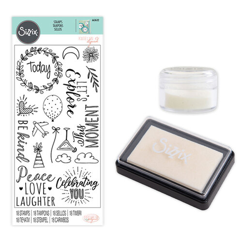 Sizzix - Making Essentials Collection - Clear Opaque Embossing Powder, Clear Embossing Ink Pad and Clear Acrylic Stamps - Everyday Sentiments Bundle