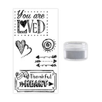 Sizzix - Making Essentials Collection - Silver Opaque Embossing Powder and Clear Acrylic Stamps - You Are Loved Bundle