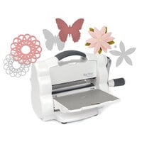 Sizzix - Big Shot Foldaway Machine - White and Gray - With Dainty Doily, Little Butterfly and Pretty Flower Thinlit Dies