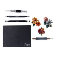 Sizzix - Tim Holtz - Making Tool - Shaping Kit and Thinlits Dies - Tiny Tattered Florals Bundle