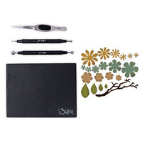 Sizzix - Tim Holtz - Making Tool - Shaping Kit and Thinlits Dies - Small Tattered Florals Bundle