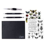 Sizzix - Tim Holtz - Making Tool - Shaping Kit, Framelits Dies and Cling Mounted Rubber Stamps - Entomology Bundle