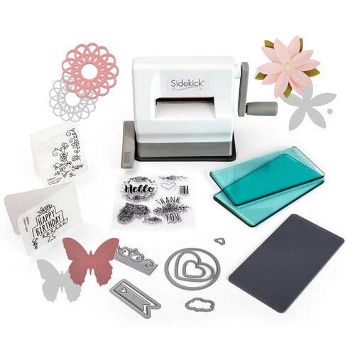Sizzix - Sidekick - Starter Kit - White and Gray - With Dainty Doily, Little Butterfly and Pretty Flower Thinlit Dies