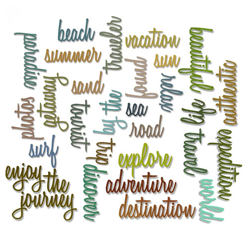 Sizzix - Tim Holtz - Alterations Collection - Thinlits Die - Vacation and Adventure Script Bundle