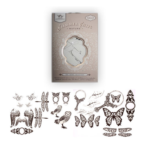 Tattered Angels - Embossed Glimmer Chips - Self Adhesive Chipboard Ornaments - Nature, CLEARANCE