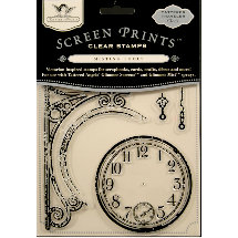 Tattered Angels - Screen Prints - Tattered Traveler Clear Acrylic Stamps - Clock