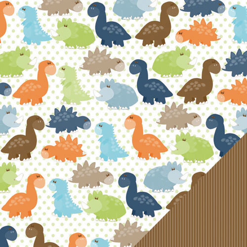 Three Bugs In a Rug - Dawson Collection - 12 x 12 Double Sided Paper - Dino Party