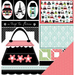 Three Bugs In a Rug - A Trip to Paris Collection - 12 x 12 Double Sided Paper - Paris Cut Outs, CLEARANCE