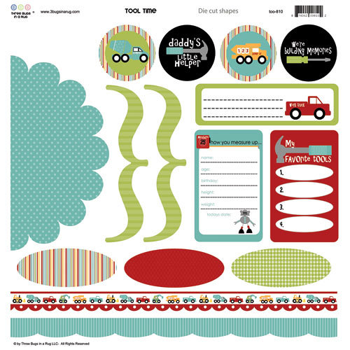 Three Bugs In a Rug - Tool Time Collection - Die Cut Shapes