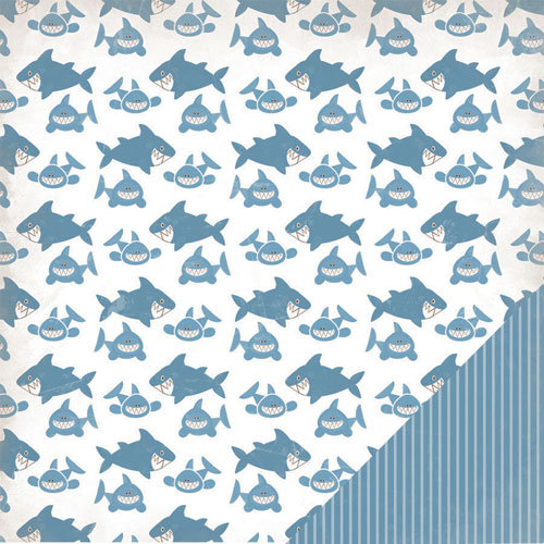 Three Bugs In a Rug - Under the Sea Collection - 12 x 12 Double Sided Paper - Shark