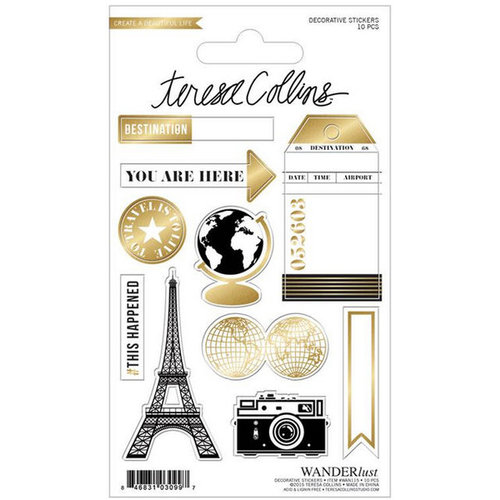 Teresa Collins - Wanderlust Collection - Sticker Sheet - Decorative