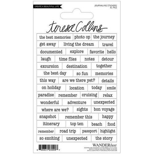 Teresa Collins - Wanderlust Collection - Sticker Sheet - Journaling