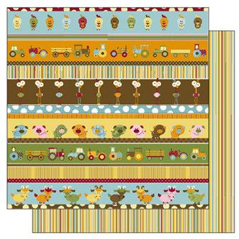 TaDa Creative Studios - E-I-E-I-O Collection - 12 x 12 Double Sided Paper - Barnyard Line Up, BRAND NEW