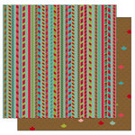 TaDa Creative Studios - Jolly Holly Days Collection - 12 x 12 Double Sided Paper - Candy Cane Lane, CLEARANCE