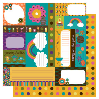 TaDa Creative Studios - Sizzlin' Summer Collection - 12 x 12 Double Sided Paper - Snippets and Clippets