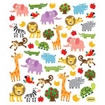 Sticker King - Clear Stickers with Foil Accents - Zoo Fun