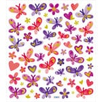 Sticker King - Clear Stickers with Glitter Accents - Butterflies in Reds and Purples