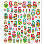 Sticker King - Clear Stickers with Glitter Accents - Russian Dolls