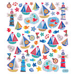 Sticker King - Clear Stickers with Glitter Accents - Nautical Time