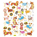 Sticker King - Clear Stickers with Glitter Accents - Dogs in Sweaters