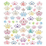 Sticker King - Clear Stickers with Glitter Accents - Bejeweled Crowns