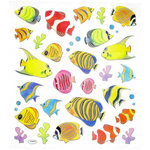 Sticker King - Clear Stickers with Foil Accents - Tropical Fish