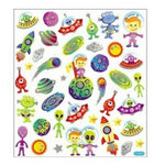 Sticker King - Clear Stickers with Glitter Accents - Aliens Among Us