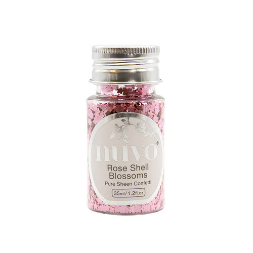 Nuvo - Blue Blossom Collection - Pure Sheen Confetti - Rose Shell Blossoms