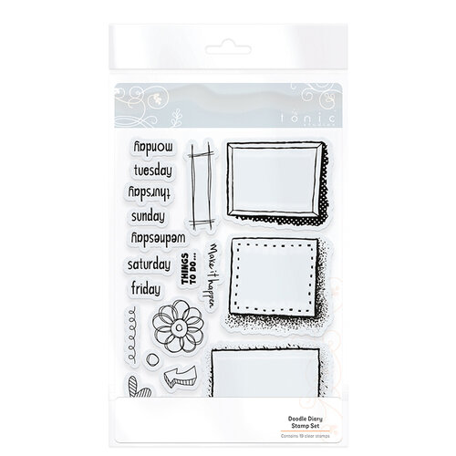 Tonic Studios - Clear Acrylic Stamps - Doodle Diary Stamp Set