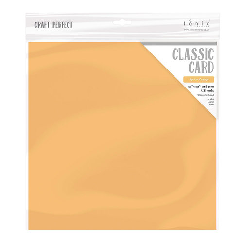 Tonic Studios - Craft Perfect - Textured Classic Cardstock - 12 x 12 - Apricot Orange - 5 Pack