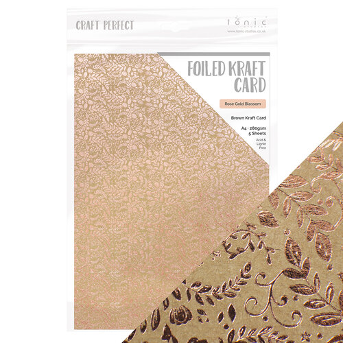 Tonic Studios - Rustic Rose Collection - Craft Perfect - 8.5 x 11 Cardstock - Foiled Kraft Card - Rose Gold Blossom