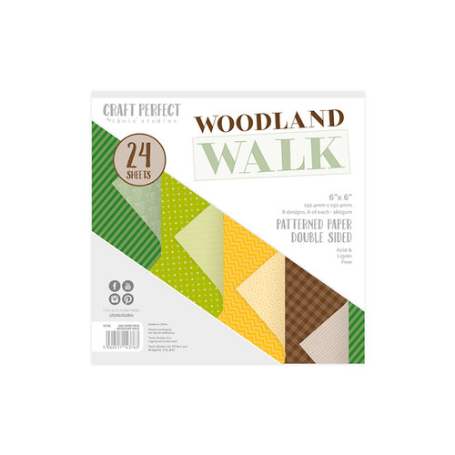 Tonic Studios - Woodland Walk Collection - Craft Perfect - Luxury Card - Woodland Walk - 6 x 6 Paper Pack - 24 sheets