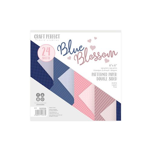 Tonic Studios - Blue Blossom Collection - Craft Perfect - Luxury Card - Blue Blossom - 6 x 6 Paper Pack - 24 Sheets