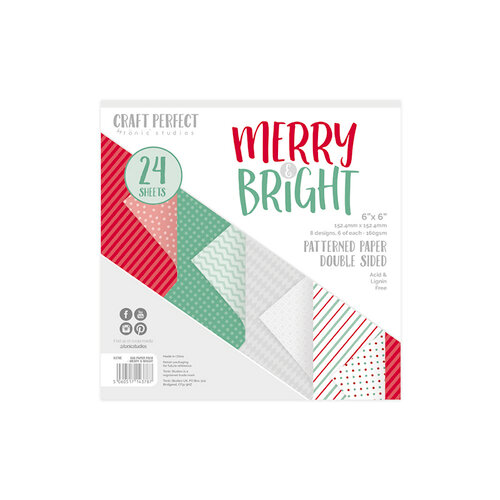 Tonic Studios - Merry and Bright Collection - Craft Perfect - Luxury Card - Merry & Bright - 6 x 6 Paper Pack - 24 Sheets