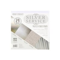 Tonic Studios - Craft Perfect - 6 x 6 Mixed Solids Card Pack - Silver Service