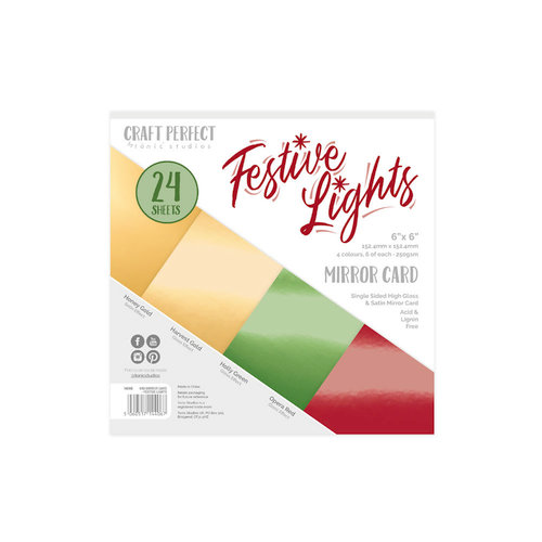 Tonic Studios - Craft Perfect - Christmas - Mirror Card - 6 x 6 - Festive Lights - 24 Sheets