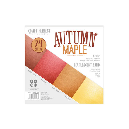 Tonic Studios - Craft Perfect - Pearlescent Card - 6 x 6 - Autumn Maple - 24 Sheets
