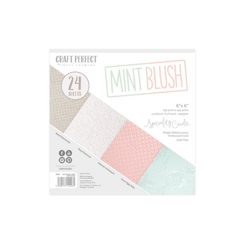 Tonic Studios - Craft Perfect - Specialty Card with Embossed Accents - 6 x 6 - Mint Blush