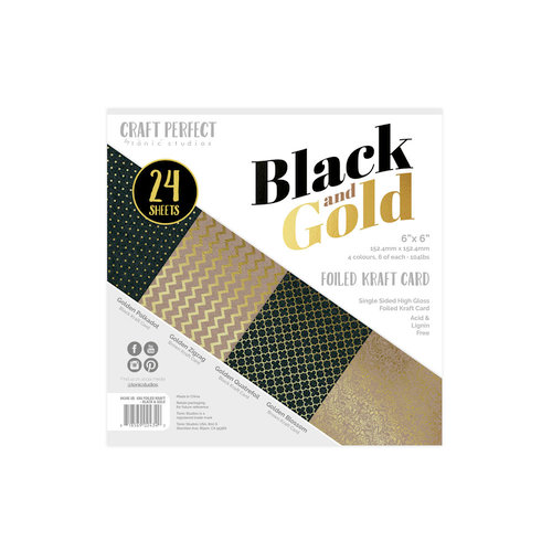 Tonic Studios - Craft Perfect - Foiled Kraft Card - 6 x 6 - Black and Gold - 24 Sheets