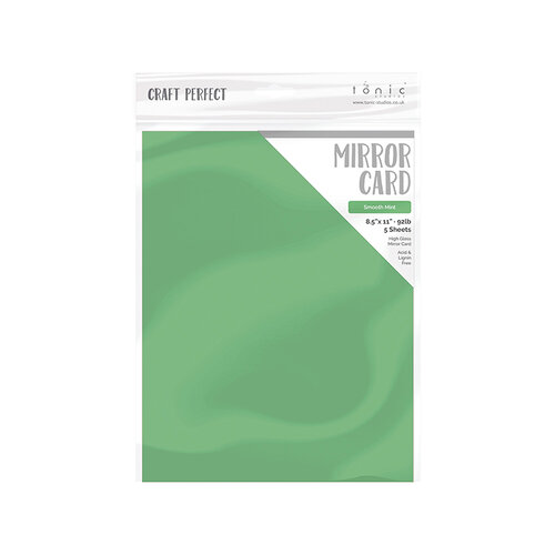 Tonic Studios - Merry and Bright Collection - Craft Perfect - Mirror Card - 8.5 x 11 - Smooth Mint - 5 Pack