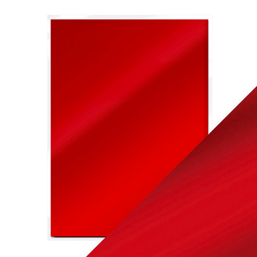 Tonic Studios - 8.5 x 11 Cardstock - Mirror Card - Satin - Scarlet Organza - 5 Pack
