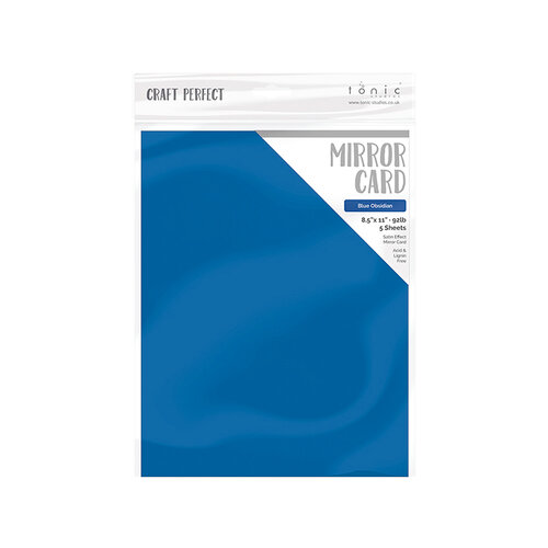 Tonic Studios - Blue Blossom Collection - Craft Perfect - Mirror Card - 8.5 x 11 - Blue Obsidian - 5 Pack