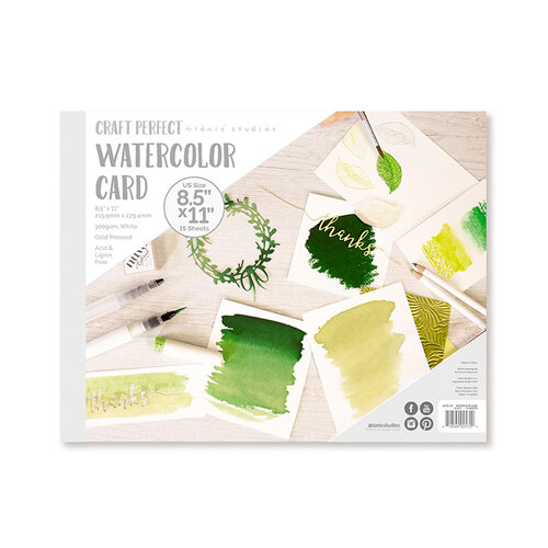 Tonic Studios - Craft Perfect - Watercolour Cards - 8.5 x 11 - 15 Sheets