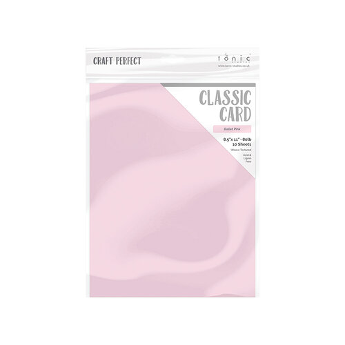 Tonic Studios - Blue Blossom Collection - Craft Perfect - Weave Textured Classic Card - 8.5 x 11 - Ballet Pink - 10 Pack