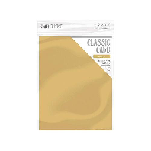 Tonic Studios - Woodland Walk Collection - Craft Perfect - Weave Textured Classic Card - 8.5 x 11 - Tan Brown - 10 Pack