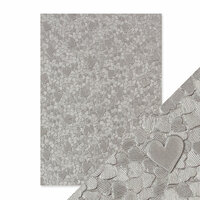 Tonic Studios - Hand Crafted Embossed Cotton Paper - A4 - Cascading Hearts - 5 Pack
