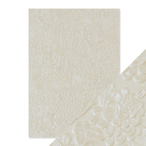 Tonic Studios - Hand Crafted Embossed Cotton Paper - A4 - Ivory Bouquet - 5 Pack