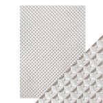 Tonic Studios - Hand Crafted Embossed Cotton Paper - A4 - Silver Chequer